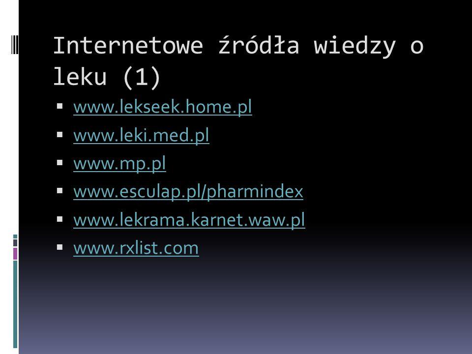 Internetowe źródła wiedzy o leku (1)