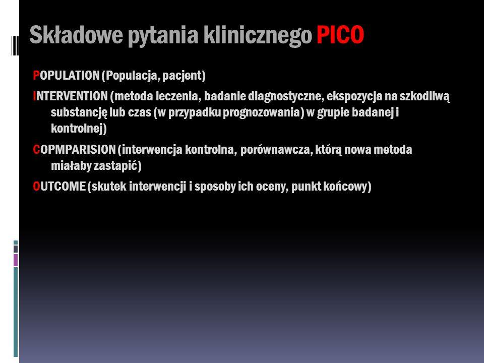 Składowe pytania klinicznego PICO