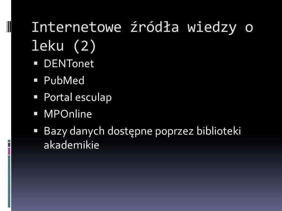Internetowe źródła wiedzy o leku (2)