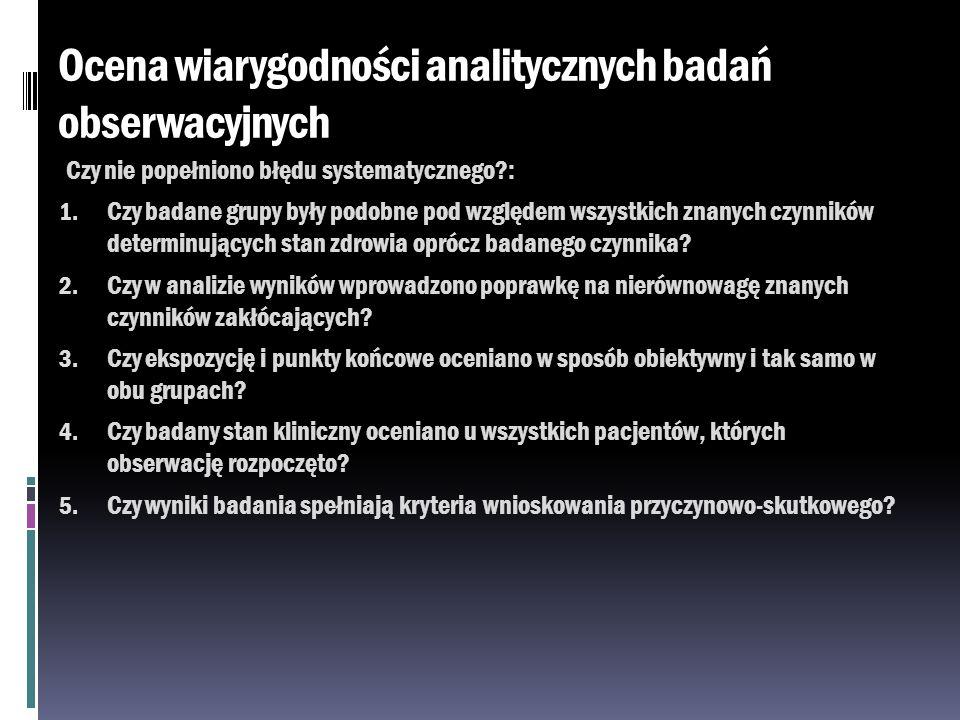 Ocena wiarygodności analitycznych badań obserwacyjnych