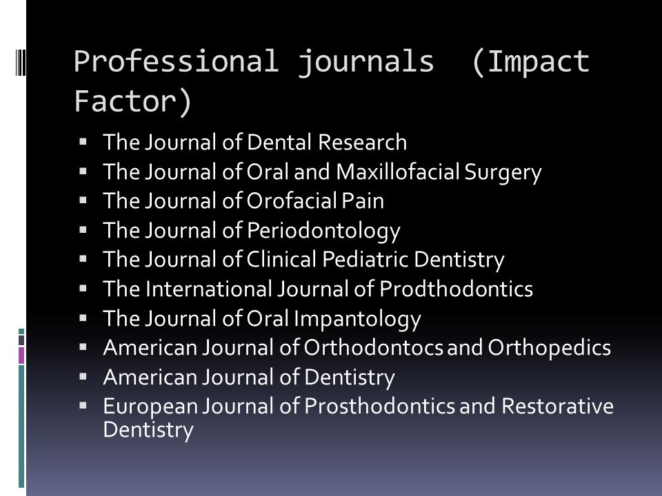 Professional journals (Impact Factor)