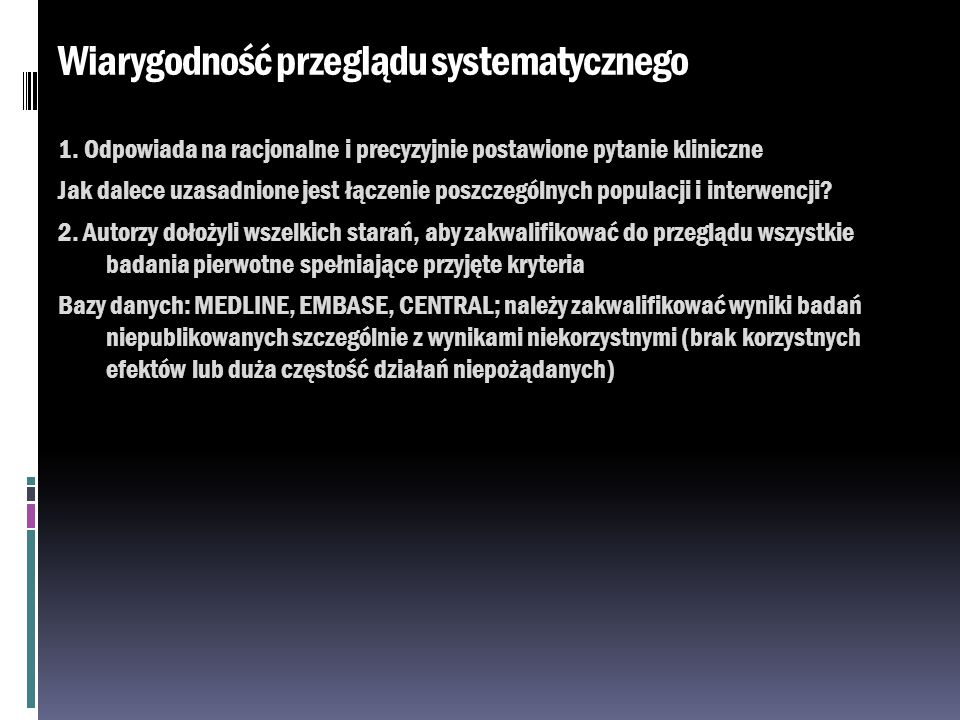 Wiarygodność przeglądu systematycznego
