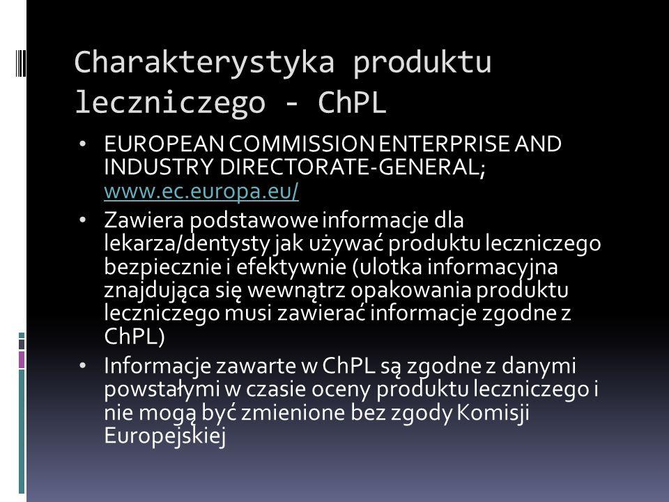 Charakterystyka produktu leczniczego - ChPL