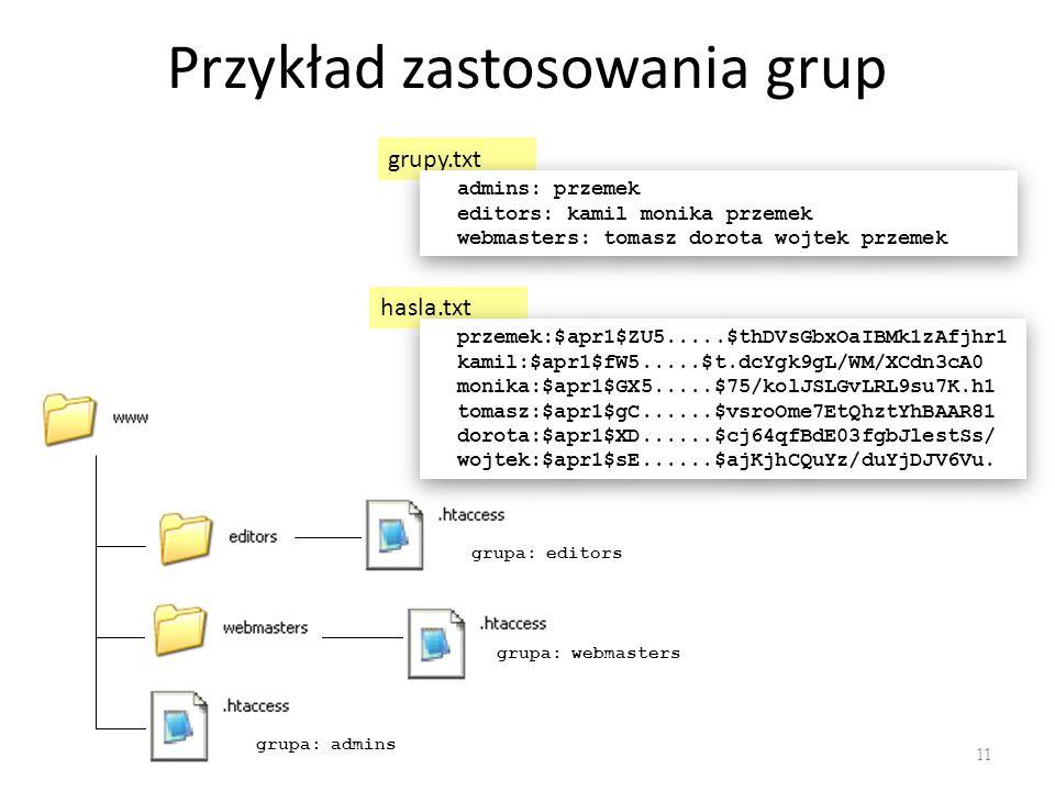 Przykład zastosowania grup