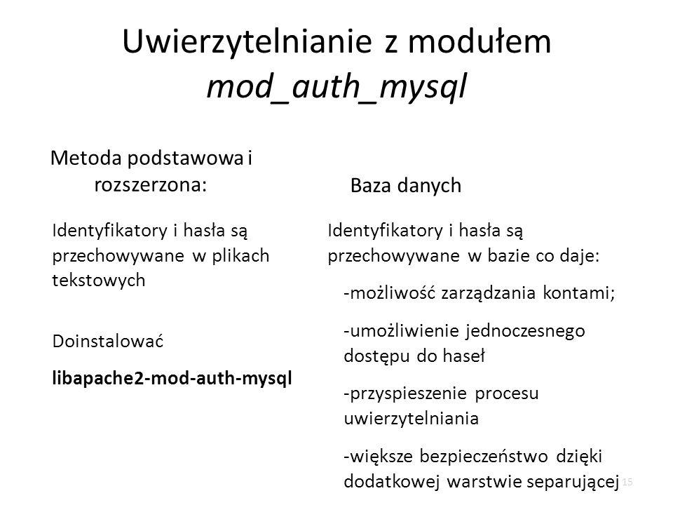 Uwierzytelnianie z modułem mod_auth_mysql