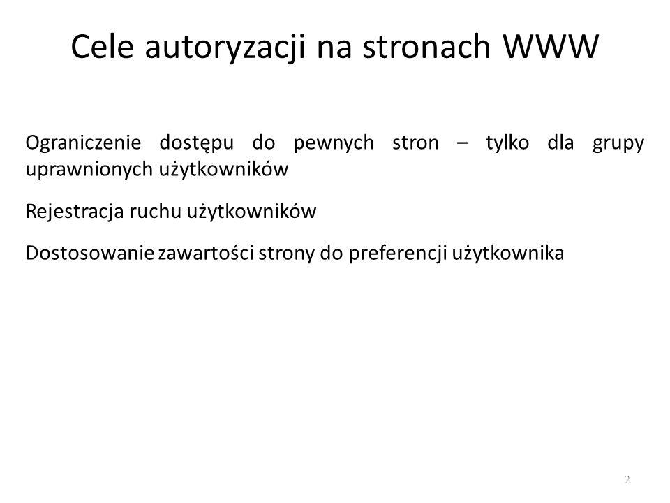 Cele autoryzacji na stronach WWW