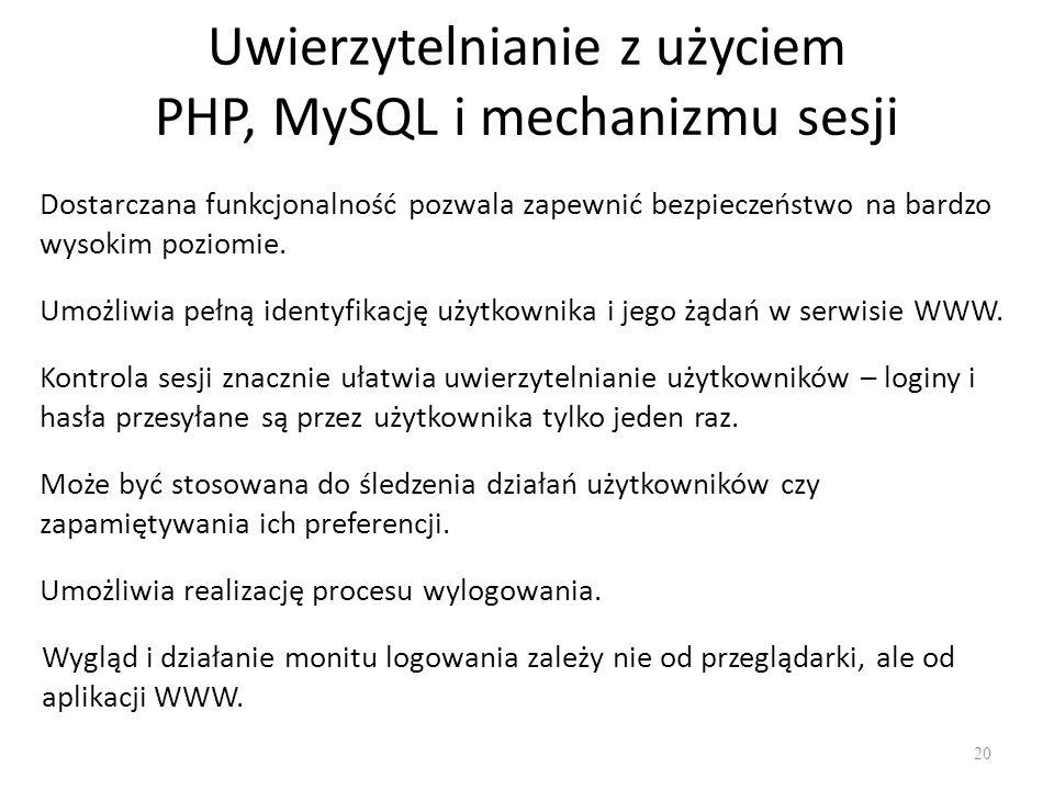 Uwierzytelnianie z użyciem PHP, MySQL i mechanizmu sesji