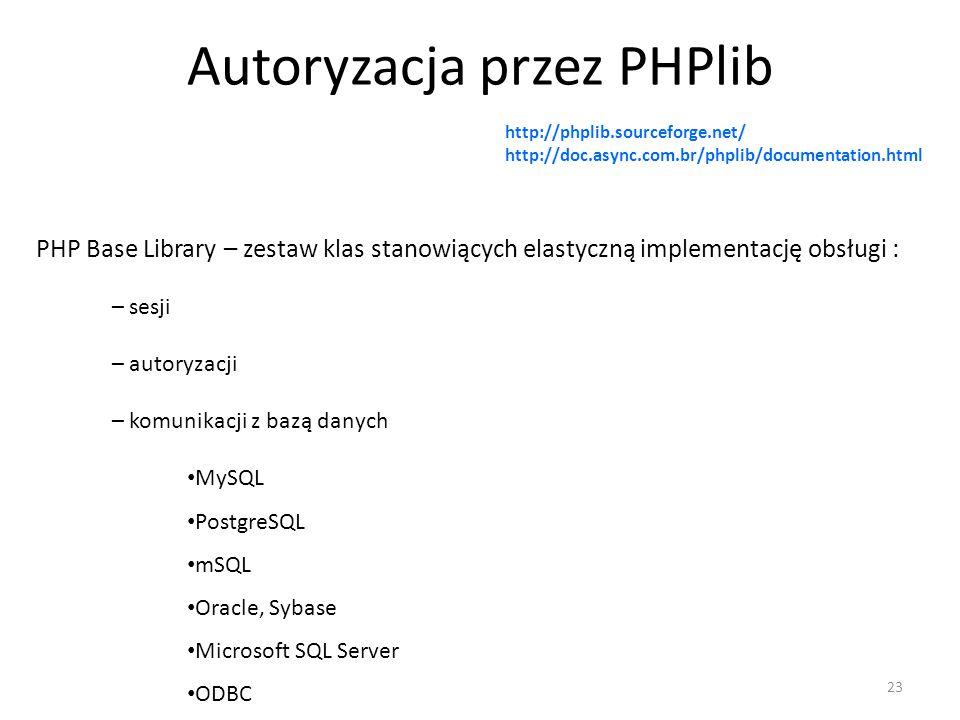 Autoryzacja przez PHPlib