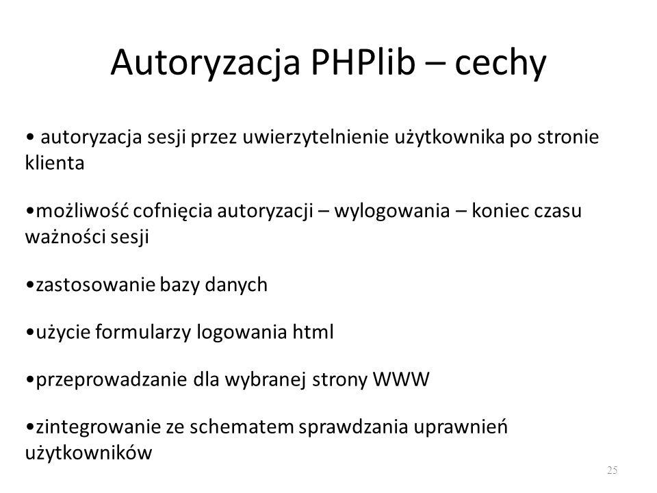 Autoryzacja PHPlib – cechy
