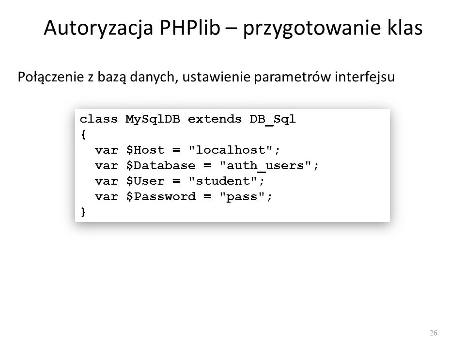 Autoryzacja PHPlib – przygotowanie klas