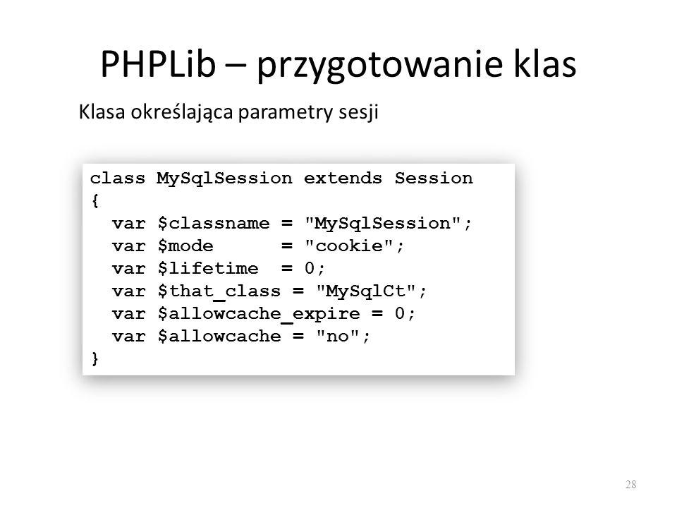 PHPLib – przygotowanie klas