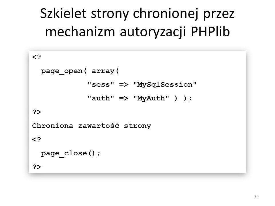 Szkielet strony chronionej przez mechanizm autoryzacji PHPlib