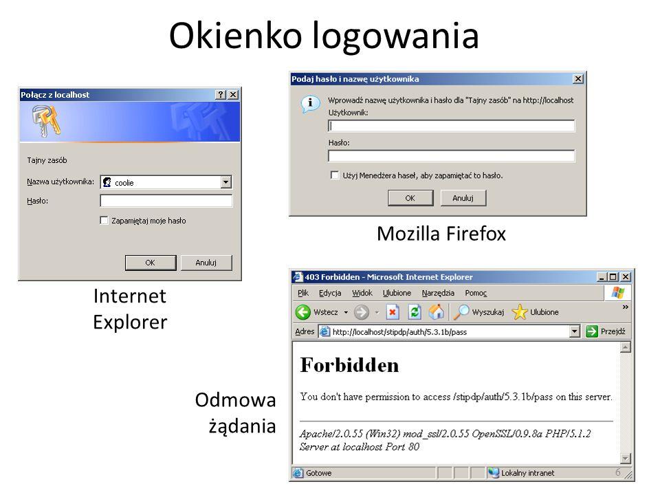 Okienko logowania Mozilla Firefox Internet Explorer Odmowa żądania