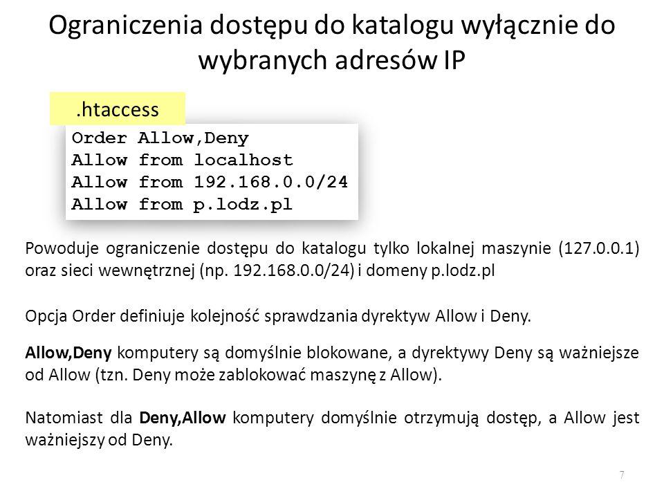 Ograniczenia dostępu do katalogu wyłącznie do wybranych adresów IP