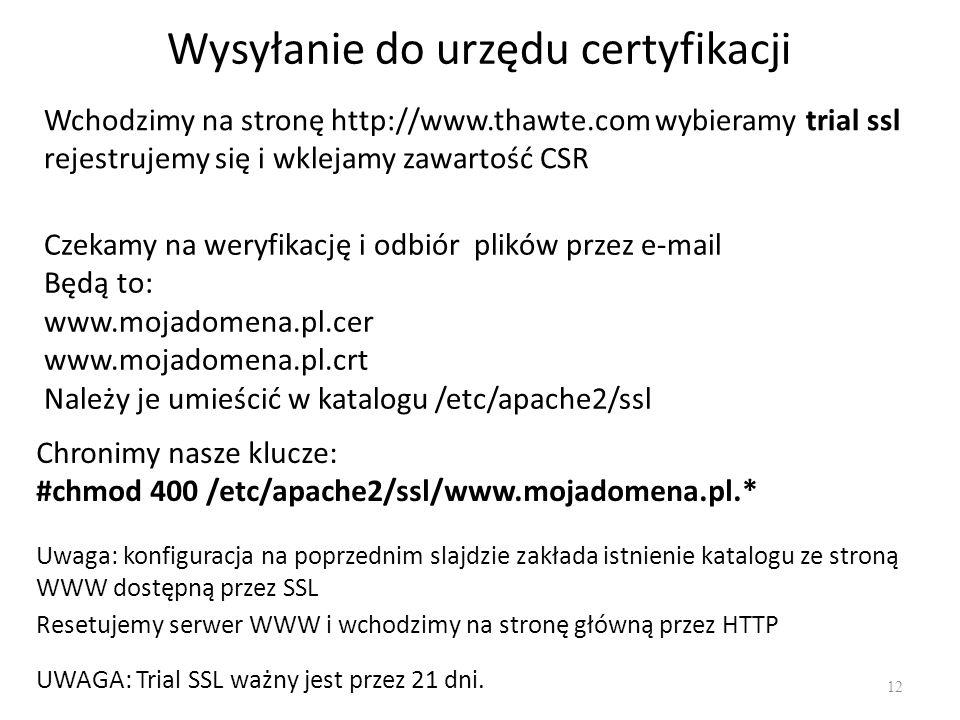 Wysyłanie do urzędu certyfikacji