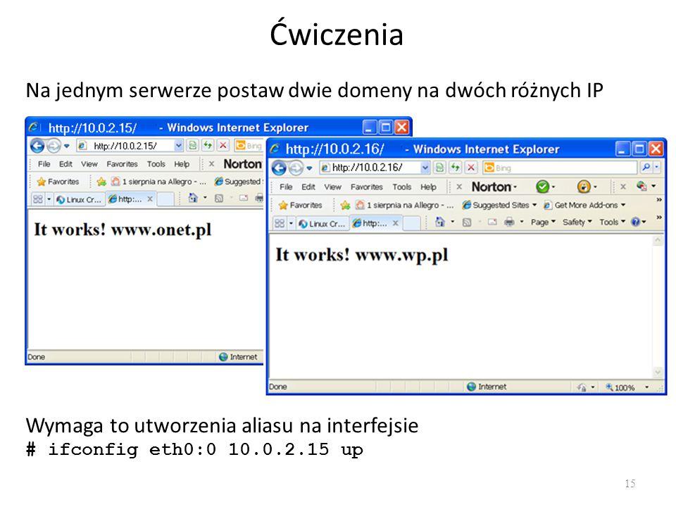 Ćwiczenia Na jednym serwerze postaw dwie domeny na dwóch różnych IP