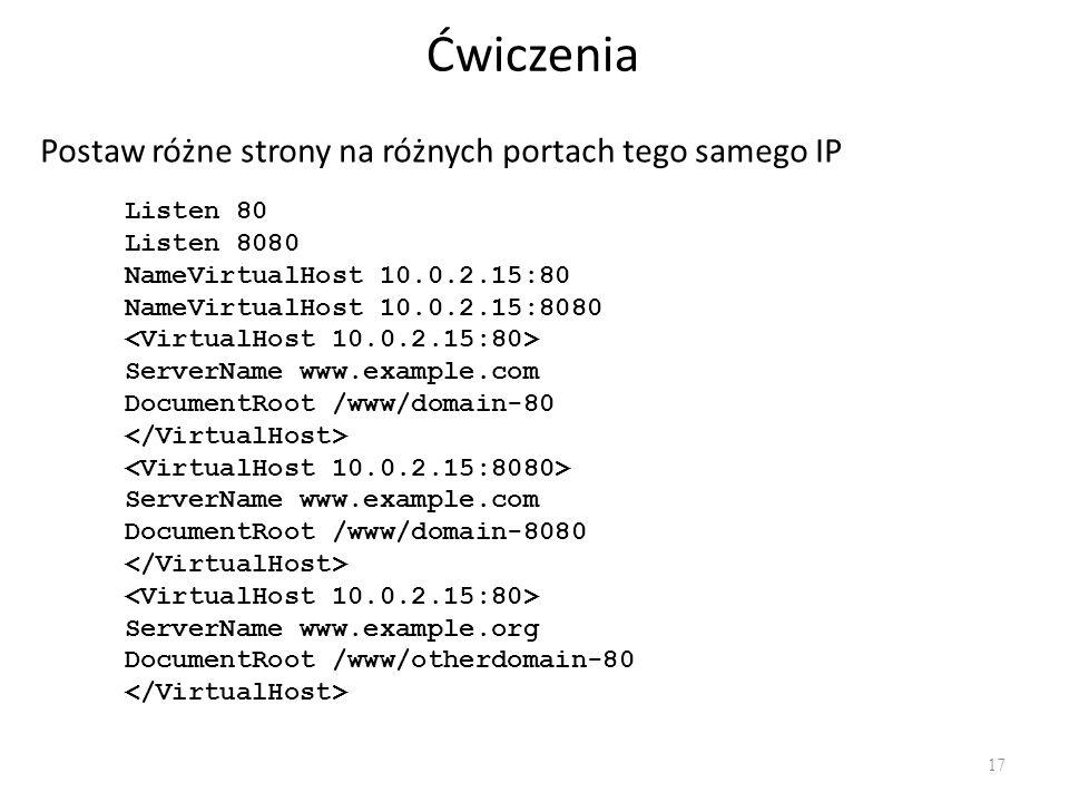 Ćwiczenia Postaw różne strony na różnych portach tego samego IP