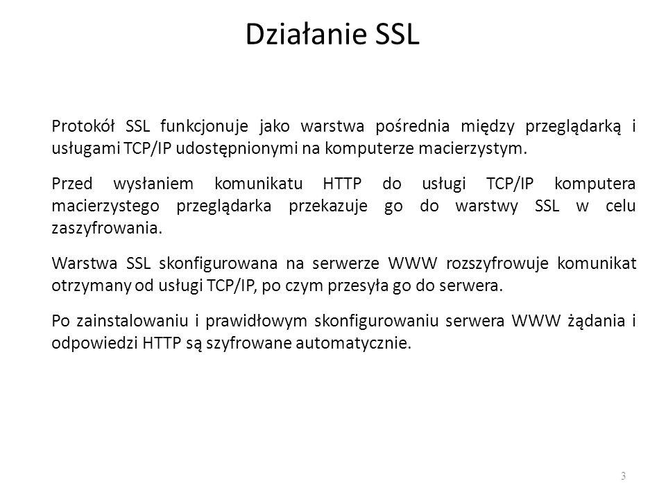 Działanie SSL Protokół SSL funkcjonuje jako warstwa pośrednia między przeglądarką i usługami TCP/IP udostępnionymi na komputerze macierzystym.