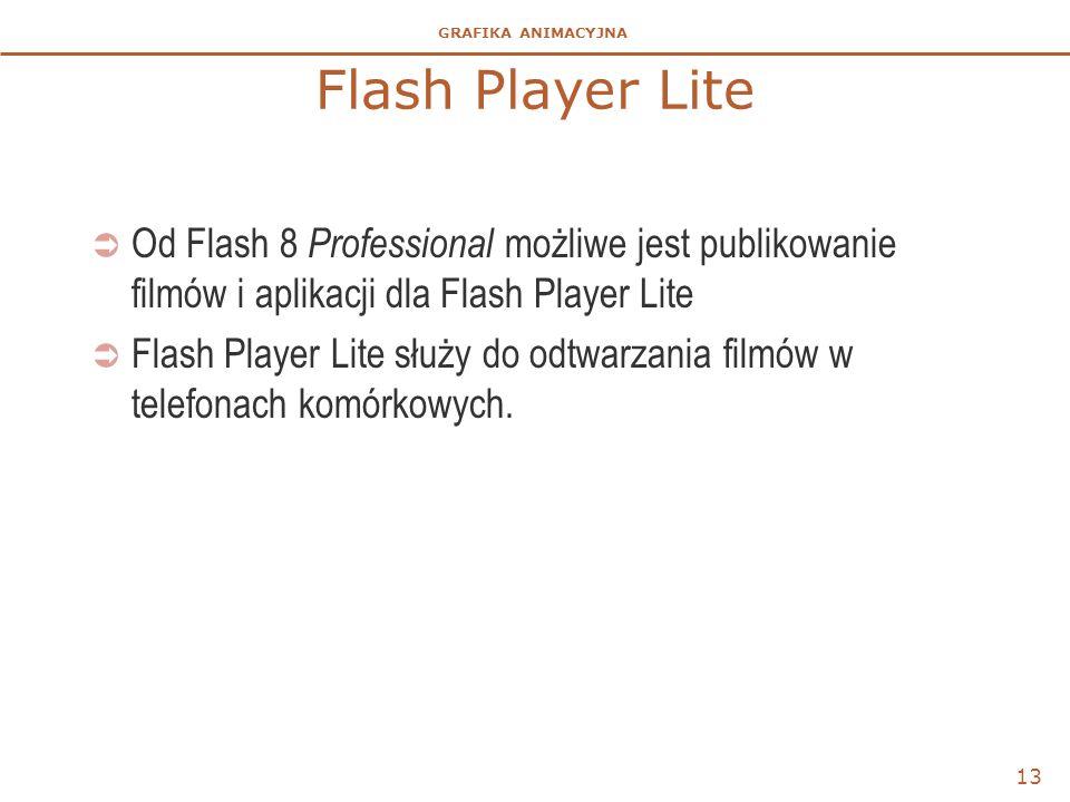 Flash Player Lite Od Flash 8 Professional możliwe jest publikowanie filmów i aplikacji dla Flash Player Lite.