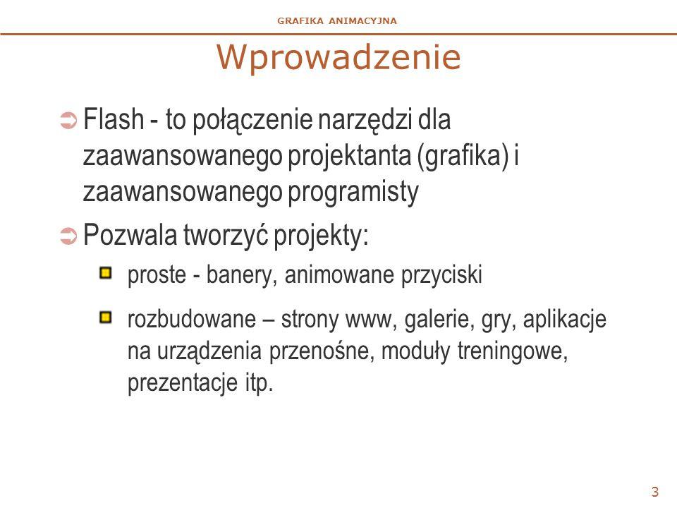 Wprowadzenie Flash - to połączenie narzędzi dla zaawansowanego projektanta (grafika) i zaawansowanego programisty.