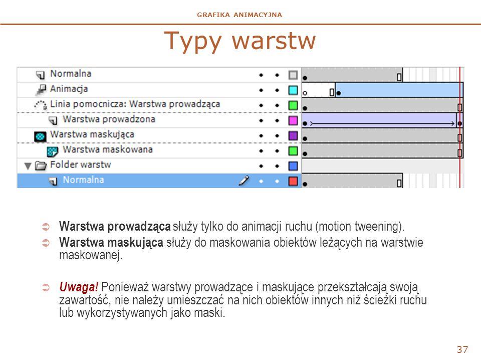 Typy warstw Warstwa prowadząca służy tylko do animacji ruchu (motion tweening).