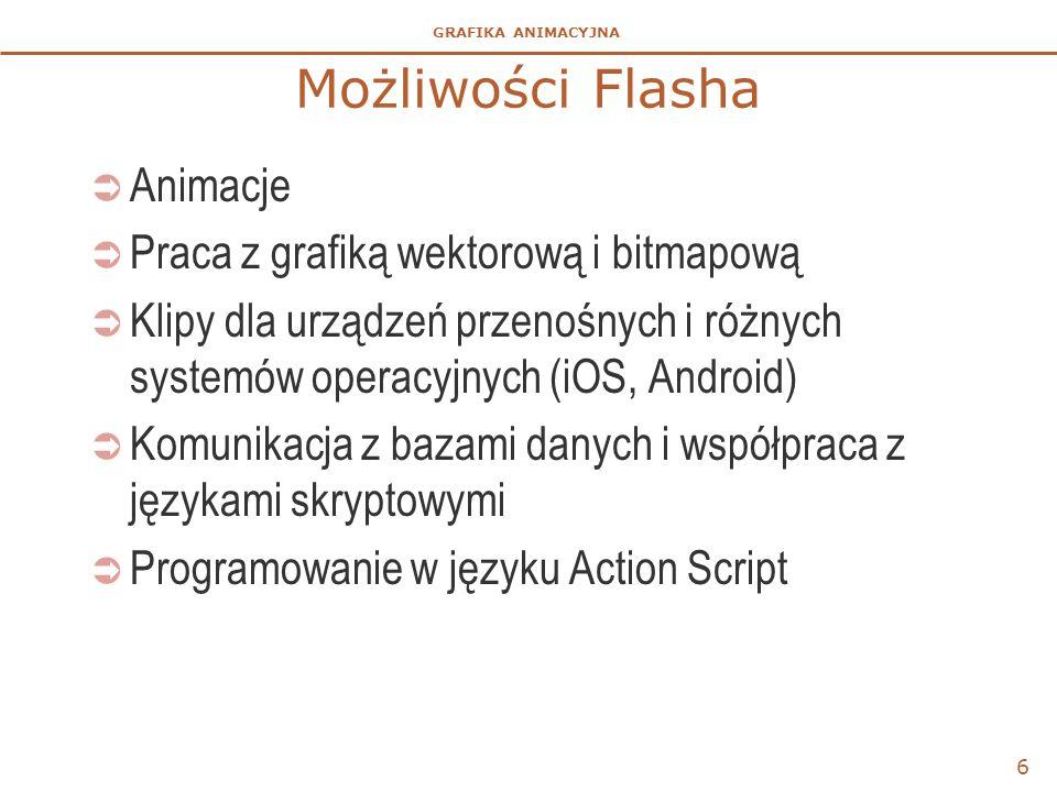 Możliwości Flasha Animacje Praca z grafiką wektorową i bitmapową