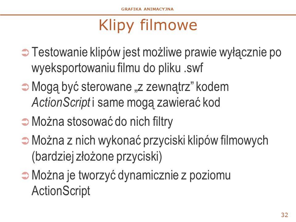 Klipy filmowe Testowanie klipów jest możliwe prawie wyłącznie po wyeksportowaniu filmu do pliku .swf.