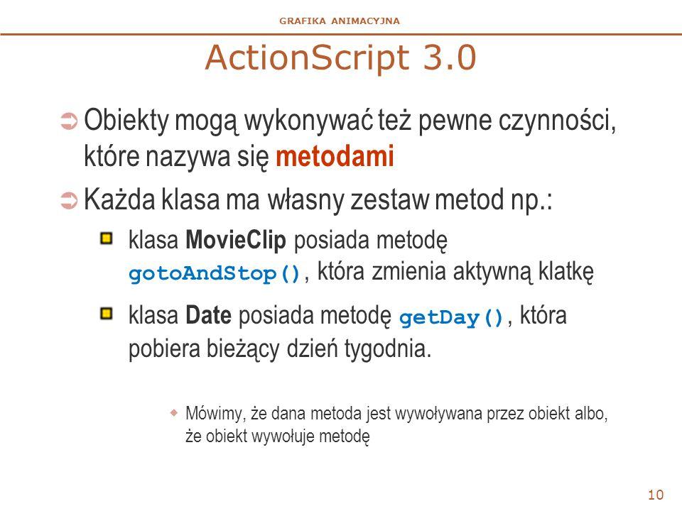 ActionScript 3.0 Obiekty mogą wykonywać też pewne czynności, które nazywa się metodami. Każda klasa ma własny zestaw metod np.: