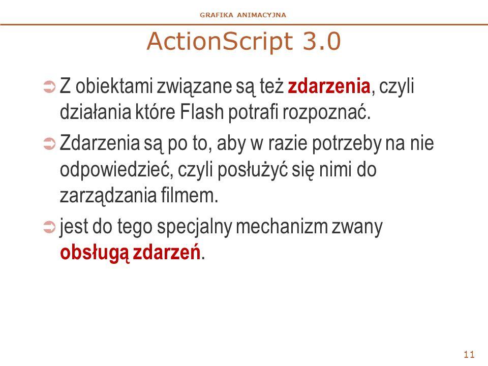 ActionScript 3.0 Z obiektami związane są też zdarzenia, czyli działania które Flash potrafi rozpoznać.