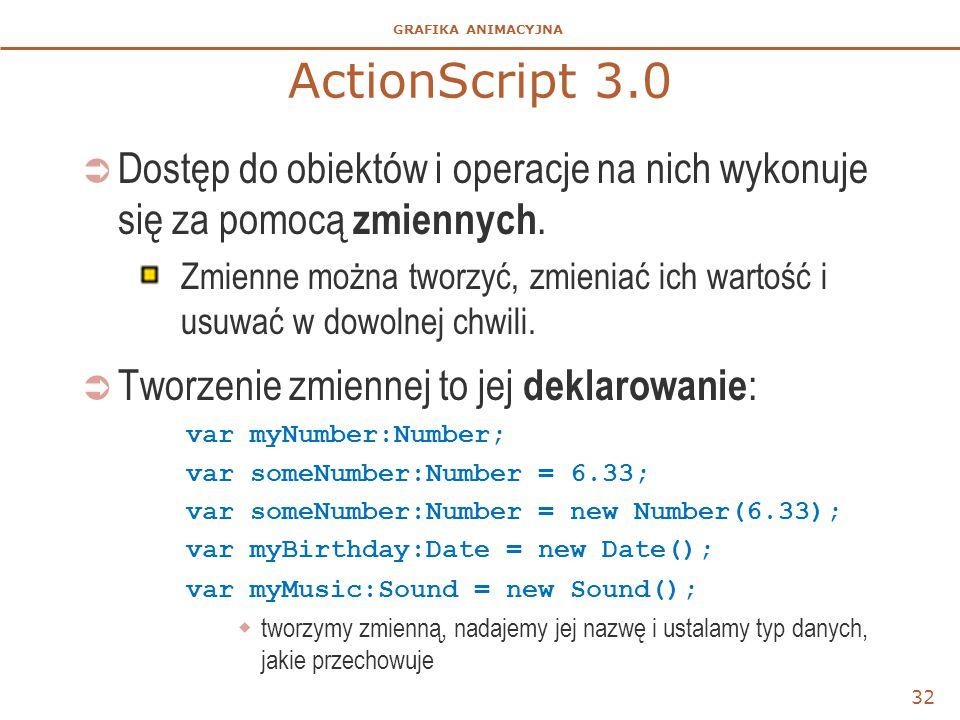 ActionScript 3.0 Dostęp do obiektów i operacje na nich wykonuje się za pomocą zmiennych.