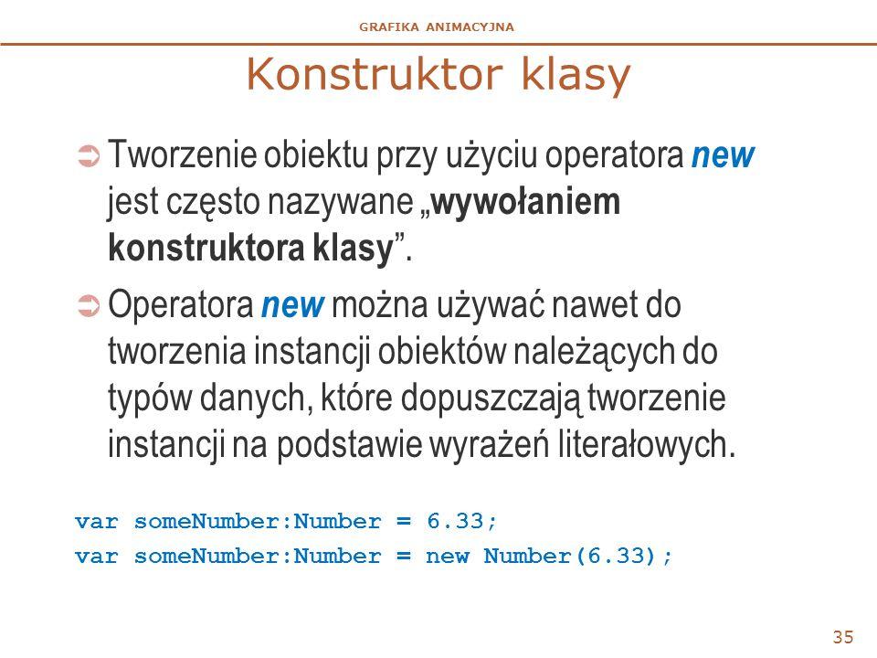 """Konstruktor klasy Tworzenie obiektu przy użyciu operatora new jest często nazywane """"wywołaniem konstruktora klasy ."""