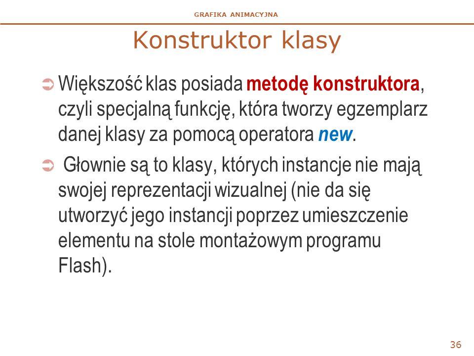 Konstruktor klasy Większość klas posiada metodę konstruktora, czyli specjalną funkcję, która tworzy egzemplarz danej klasy za pomocą operatora new.