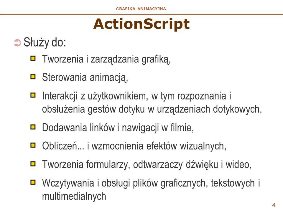 ActionScript Służy do: Tworzenia i zarządzania grafiką,