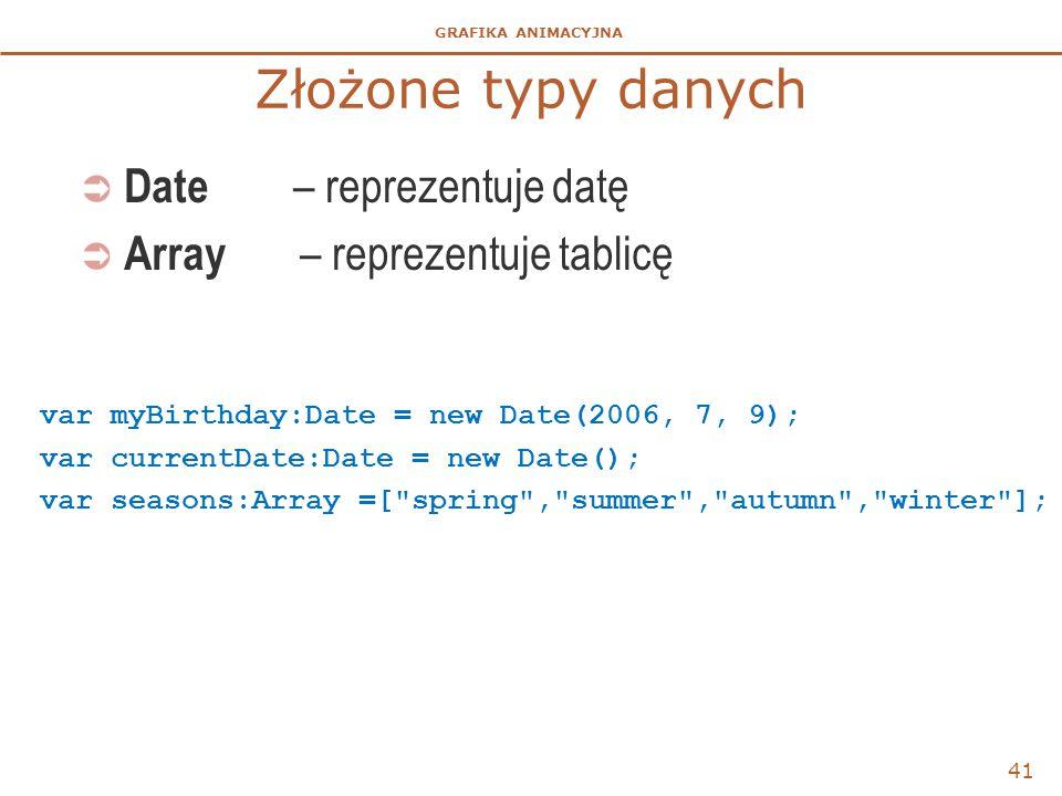 Złożone typy danych Date – reprezentuje datę