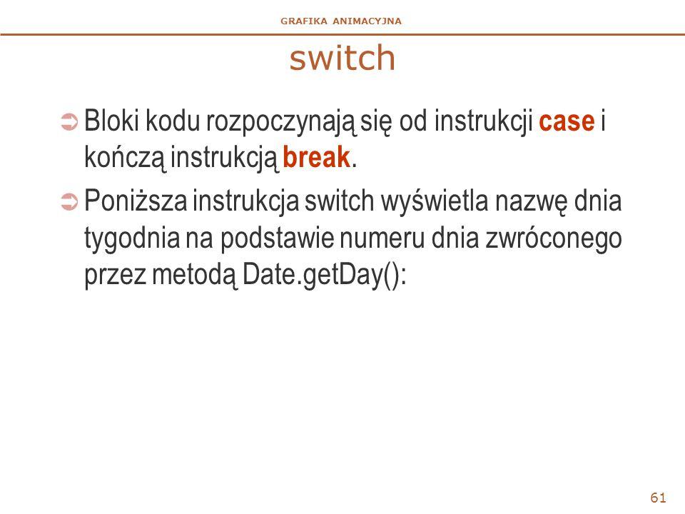 switch Bloki kodu rozpoczynają się od instrukcji case i kończą instrukcją break.