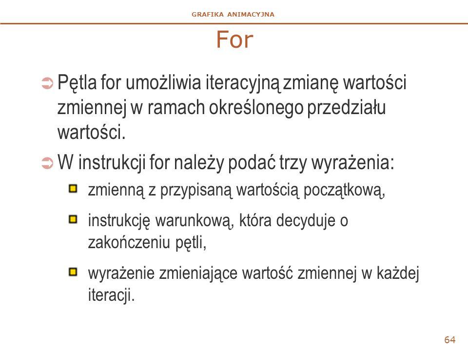 For Pętla for umożliwia iteracyjną zmianę wartości zmiennej w ramach określonego przedziału wartości.