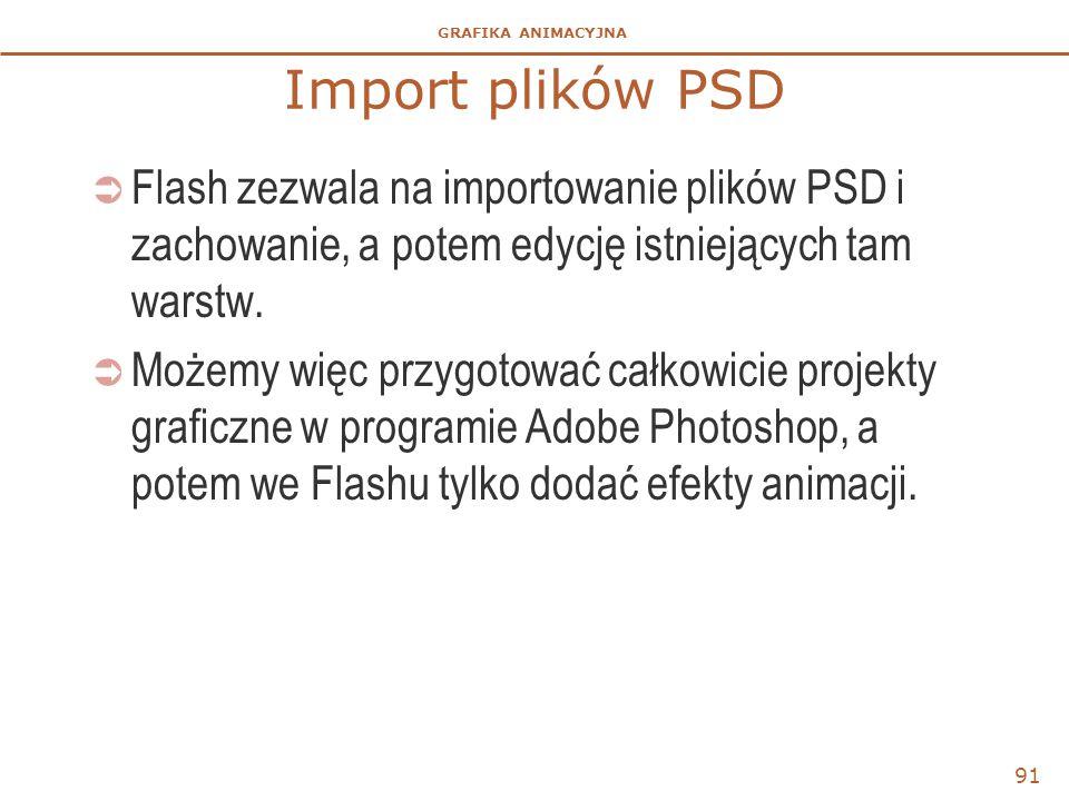 Import plików PSD Flash zezwala na importowanie plików PSD i zachowanie, a potem edycję istniejących tam warstw.