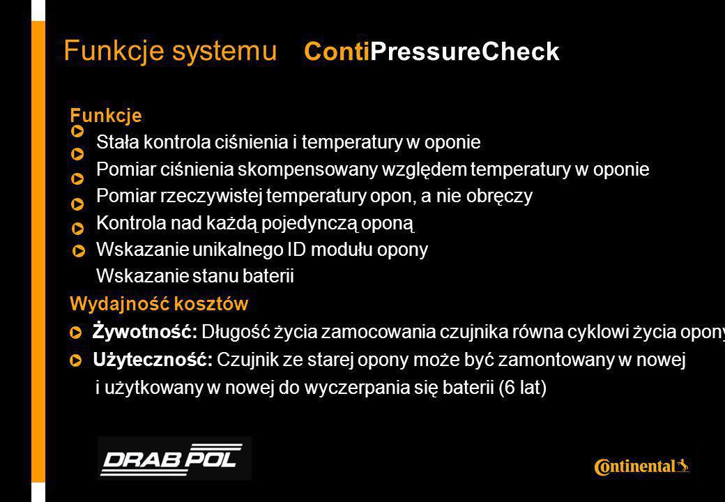 Funkcje systemu ContiPressureCheck