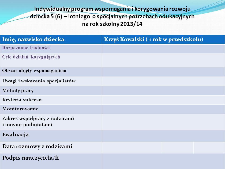 Indywidualny program wspomagania i korygowania rozwoju dziecka 5 (6) – letniego o specjalnych potrzebach edukacyjnych na rok szkolny 2013/14