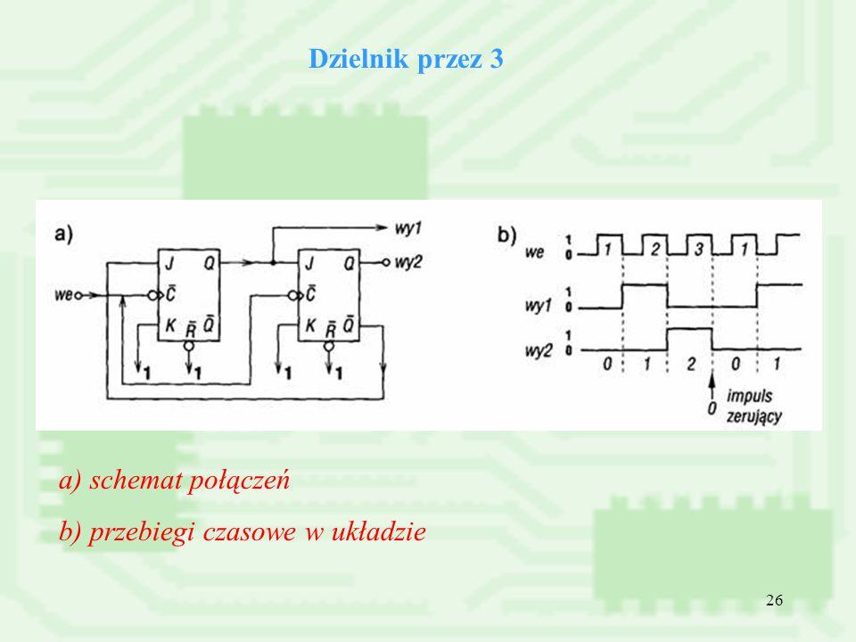 Dzielnik przez 3 a) schemat połączeń b) przebiegi czasowe w układzie
