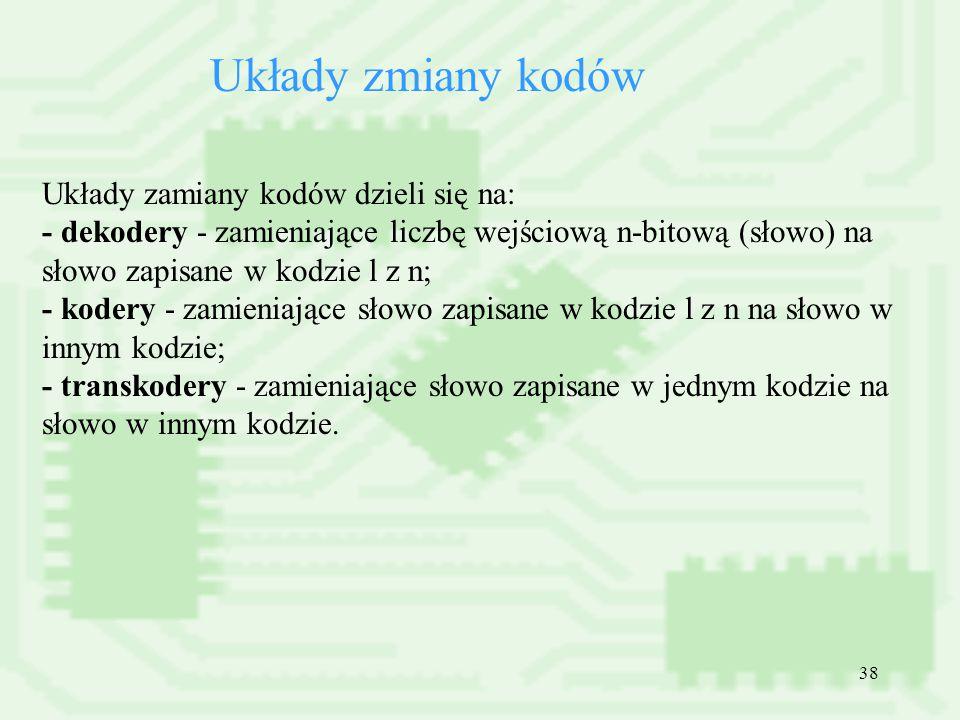 Układy zmiany kodów Układy zamiany kodów dzieli się na: