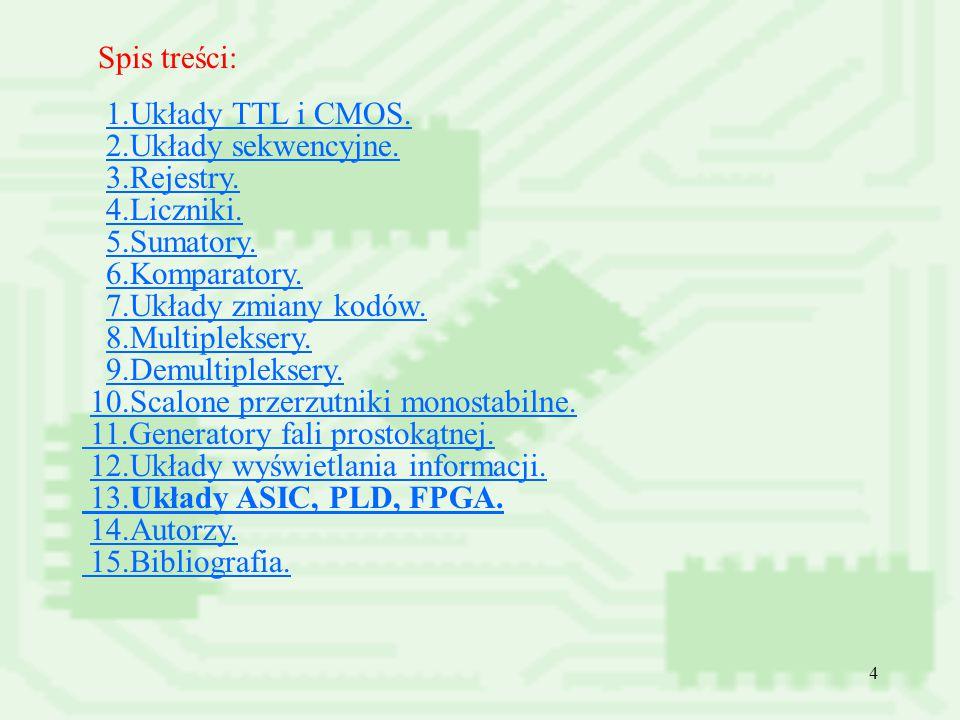 Spis treści: 1.Układy TTL i CMOS. 2.Układy sekwencyjne. 3.Rejestry. 4.Liczniki. 5.Sumatory. 6.Komparatory.