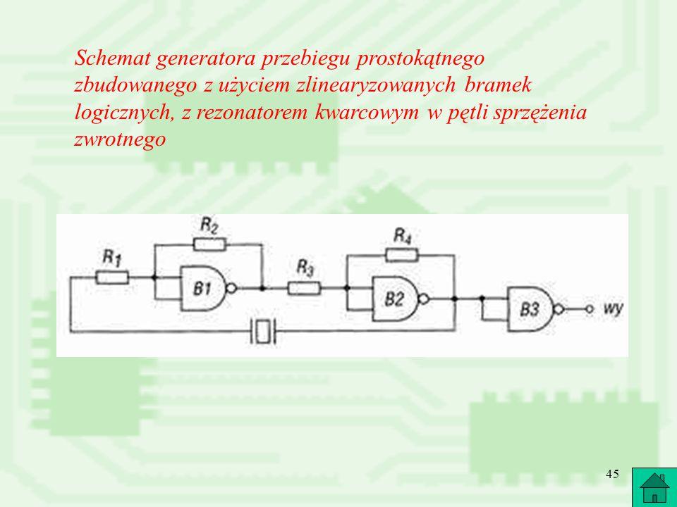 Schemat generatora przebiegu prostokątnego zbudowanego z użyciem zlinearyzowanych bramek logicznych, z rezonatorem kwarcowym w pętli sprzężenia zwrotnego