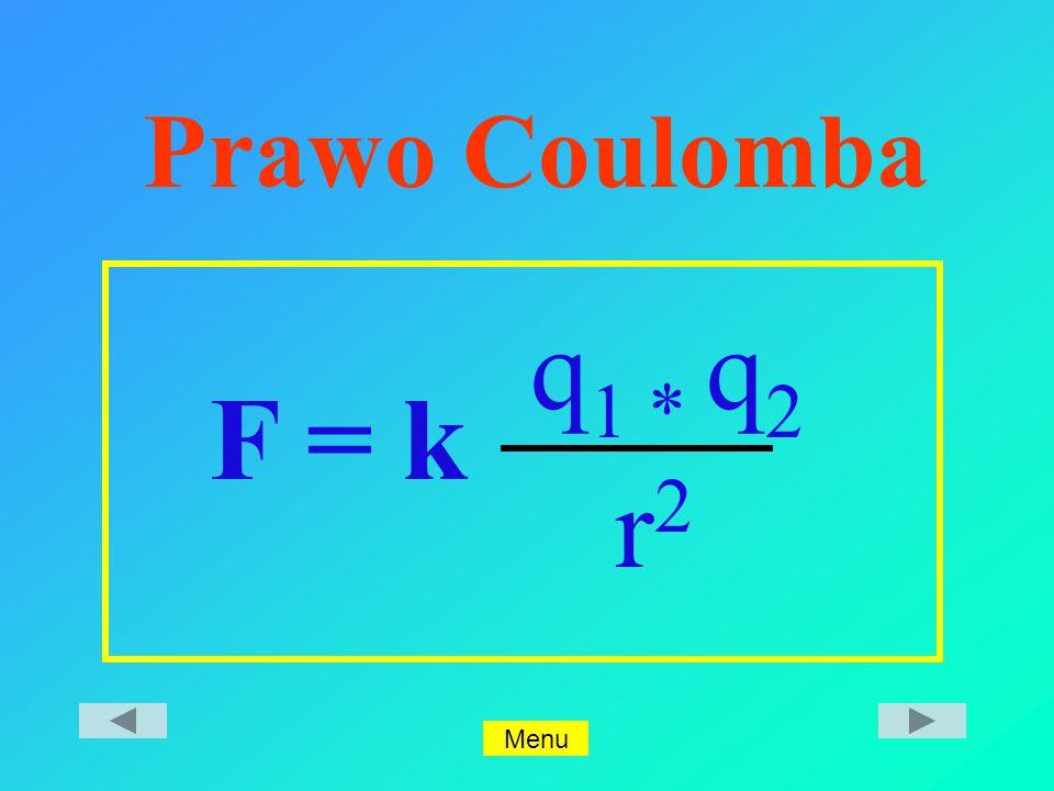 Prawo Coulomba F = k q1 * q2 r2 Menu