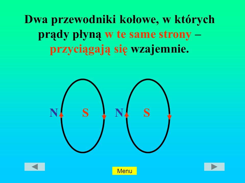 Dwa przewodniki kołowe, w których prądy płyną w te same strony – przyciągają się wzajemnie.