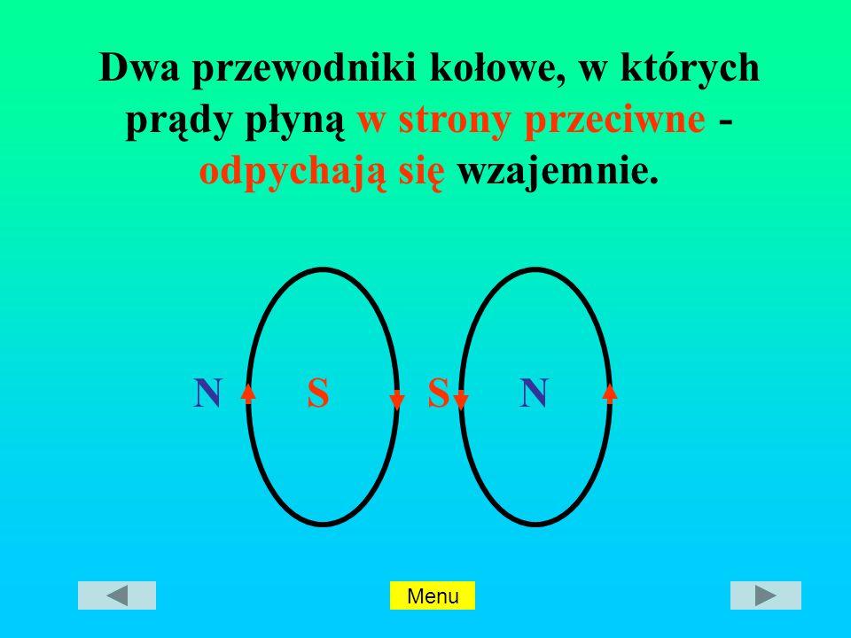 Dwa przewodniki kołowe, w których prądy płyną w strony przeciwne - odpychają się wzajemnie.