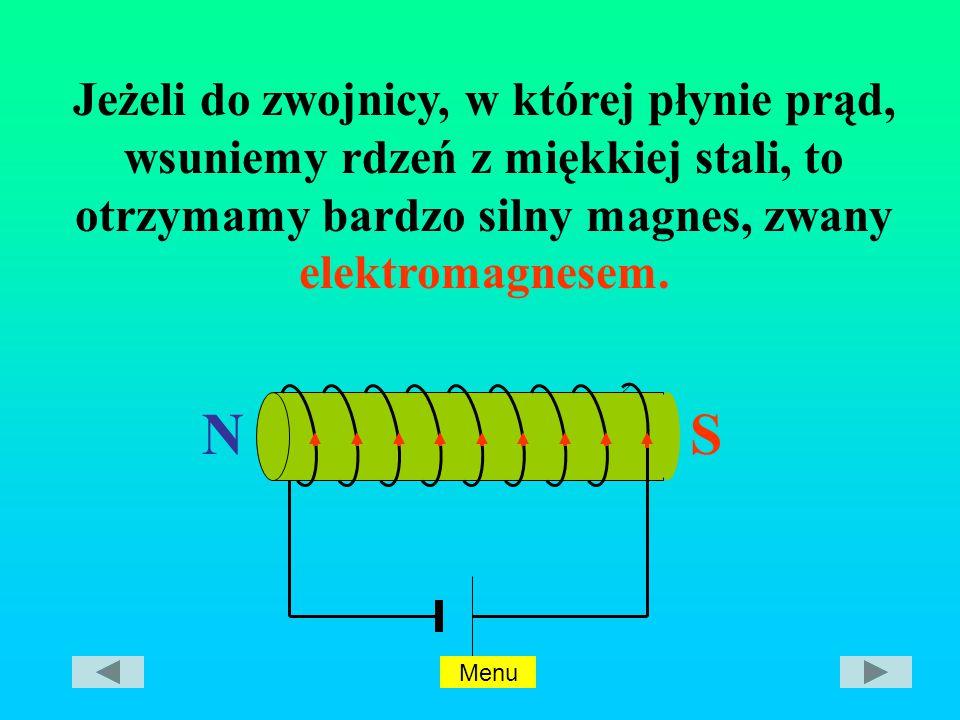 Jeżeli do zwojnicy, w której płynie prąd, wsuniemy rdzeń z miękkiej stali, to otrzymamy bardzo silny magnes, zwany elektromagnesem.