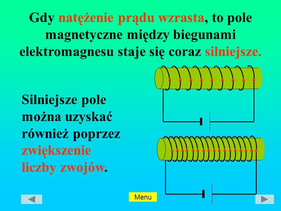 Gdy natężenie prądu wzrasta, to pole magnetyczne między biegunami elektromagnesu staje się coraz silniejsze.