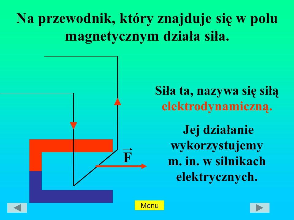 Na przewodnik, który znajduje się w polu magnetycznym działa siła.