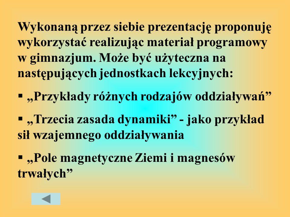 Wykonaną przez siebie prezentację proponuję wykorzystać realizując materiał programowy w gimnazjum. Może być użyteczna na następujących jednostkach lekcyjnych: